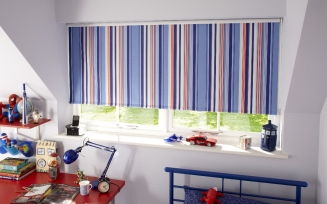 Kasuri Blue Blackout Window blind