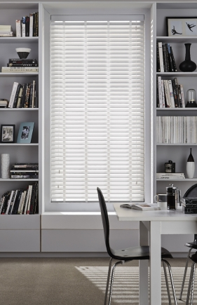 High Shine White Fauxwood Window blind