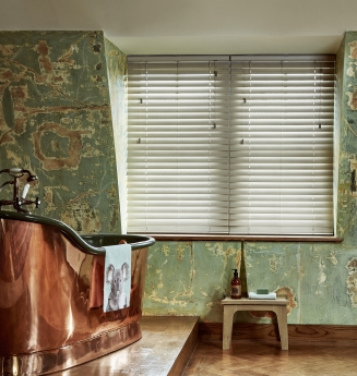 Greige Fauxwood Window blind